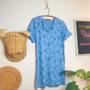 vtg retro 90s cotton seahorse tee shirt dress